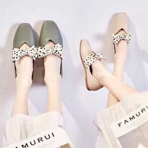 2020 Polka Dot bow-knot square toe mary janes woman loafers shallow women shoes slip on moccasins mujer ballet flats size 35-44