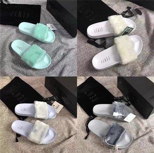 Frühling und Sommer-Overlapping Lederschuhe starker Absatz Color Matching Sandalen Ferienhaus Pantoffel mit Originalverpackung # 105