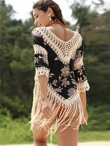 Вязаная V-образным вырезом 7-баллов рукавные покрытия Beach Sunscreen Одежда Одежда Полые свободные хлопчатобумажные крюки крюк