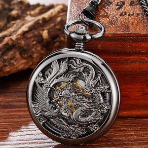 Vintage Black Mechanical Pocket Watch Retro Dragon Phoenix Hand Winding Hollow Fob Watch Men Women Chain Pendant Gift