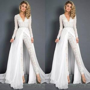 2020 Nova Vestidos de casamento Chiffon Macacões Com Overskirt Modest Pescoço V manga comprida frisada Belt Praia Casual Jumpsuit vestidos de noiva 2837