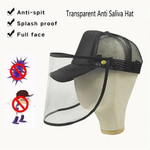 Hommes Femmes Bouchon de protection anti Saliva Visage Bouclier plastique Chapeau-monté Masque clair