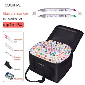 TouchFive Marker 40 60 80 168 Colors pen Brush pen Alcoholic Oily based ink Art Marker For Manga Dual Headed Sketch Markers