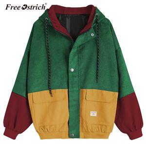Free Ostrich Winter Übergroße Jacke Frauen Cord Patchwork Taschen Langarm Kapuzenmantel Kordelzug abrigo mujer D20