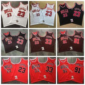 Scottie 33 Pippen Basketbol formaları Erkekler ŞikagonbaBulls 91 Vintage 91 Solucan Dennis Rodman Otantik Mitchell Ness Ucuz