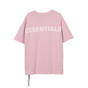 19SS Essentials Fear Of Gold 3M reflexiva Tee Casual manga curta Homens Mulheres Moda HighStreet skate T-shirt rosa HFLSTX491