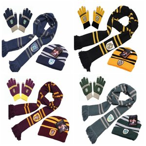 Harry Potter Cosplay Scarf Hat Touch Gloves Thickened warm Scarves Hat gloves Four college badge knitted scarf Party small gift T9I00195