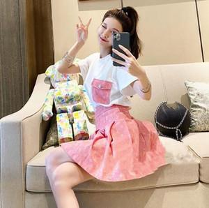 2020 donna T-shirt + gonna a pieghe di alta qualità dei vestiti 2 tuta modo di estate delle donne del progettista di s delle donne set di lusso