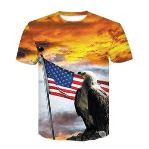 Factory Outlet 2020 New USA Drapeau T-shirt d'hommes / femmes sexy T-shirt rayé 3d Imprimer drapeau américain T-shirt des hommes T-shirts d'été Hauts