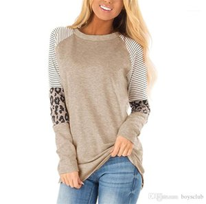 Fashion Loose Pullover Long Sleeve Womens Tees Casual Femmes Clothing Leopard Striped Womens Designer Tshirts
