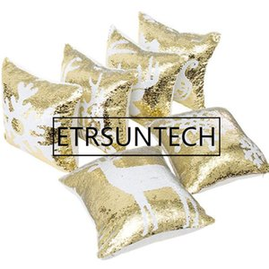 100pcs Mermaid Double Sequin Pillow Case Christmas Snowflake Reindeer Pillowcase Home Sofa Car Cushion Cover Without Core
