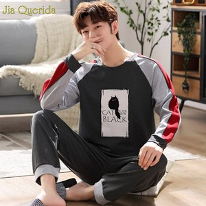 Pijama Homme Set 100% coton pour hommes vêtements de nuit Big Taille Pyjama 3XL 4XL 5XL style sportif Hommes Noir pijama impression Cat Mens Home Wear