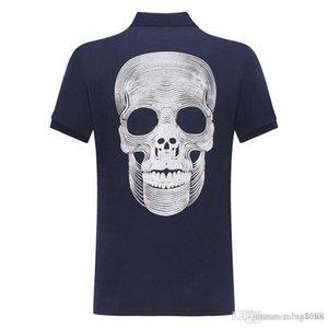 2019 summer new men's fashion street fashion short-sleeved polo shirt skull hot drilling youth slim T-shirt E27