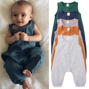Детские девочки мальчики без рукавов сплошной цвет ползунки новорожденный хлопок комбинезоны 2020 летняя мода бутик дети Скалолазание одежда M1762