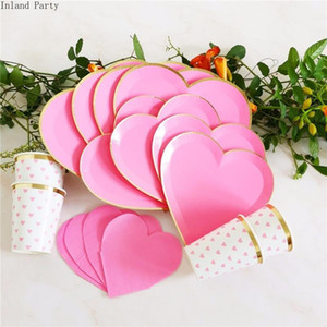 8pcs de Vaisselle jetable Set plaque papier jetable rose mignon amour forme pour fournitures de mariage Décoration de fête d'anniversaire