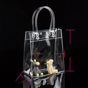 Designer- borse per la spesa di alta qualità borsa trasparente impermeabile pacchetto della borsa del regalo PVC può stampare il logo personalizzato e molti all'ingrosso formato