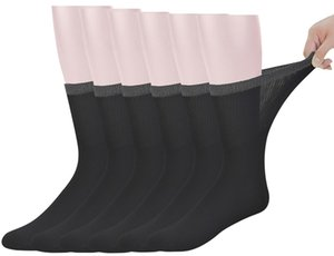 Best Mens Bamboo Mid-Calf Diabetic Socks With Seamless Toe 6 Pairs L Size(Socks Size:10-13)