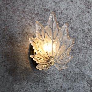Американский медный Maple Leaf Настенный светильник для спальни новой современной стены бра освещение гостиной прикроватный фон стены светильники MYY