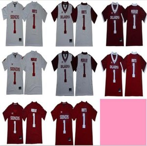 NCAA Oklahoma Sooners College 20 Billy Sims Jersey 1 Kyler Murray 1 Jalen Hurts 36 Steve Owens Rouge Blanc Football Big 12 XII