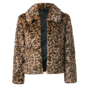 Donne Giacche Parka Leopard Print Coat artificiale rivestimento caldo di inverno del parka abbigliamento informale Faux Fur Giacche