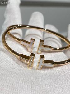 Joyería clásica del diseñador de lujo 14K chapado en oro blanco de cerámica y cristal doble del encanto de TT brazalete abierto para las mujeres
