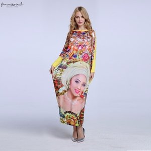 2020 African New Fashion Design Bazin Super Elastic Party Plus Size Diamond Loose Face Print Maxi Dress For Ankle Length Lady