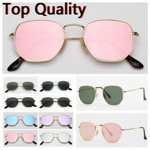 Erkekler kadınlar için güneş gözlüğü altıgen düz cam lensler tasarım erkek kadın kahverengi veya siyah kılıf ile güneş gözlüğü, bez, kağıt kutusu, aksesuarları