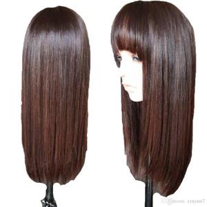 In evidenza 4 Frontal del merletto 360 capelli umani parrucche con Bangs Per Black Women brasiliana diritta merletto della parte anteriore della parrucca di Remy dei capelli