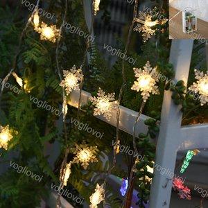 Noel ışıkları Big kar tanesi Dize Lambası 2M 3M Tatil Parti Süsleme Sıcak Beyaz Değiştirilebilir Kullanım Pil 4.5V LED String EUB Yanıp