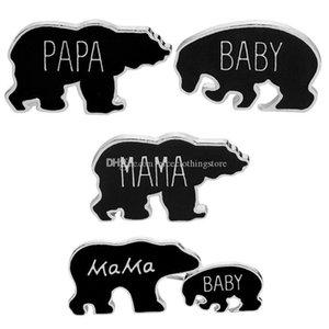 Esmalte Mama Bear Broche do botão pinos Família Amor Animal dos desenhos animados Papa Bear Broche Bebê Cub Urso Denim Jacket emblema do Pin Jóias massa