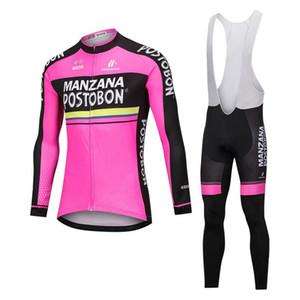 Manzana Postobon squadra Uomini manica lunga in bicicletta Jersey (Bib) Imposta traspirante bici di montagna della bicicletta rosa abbigliamento C61309