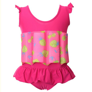 O-NECK Ruffle Strawberry print Kids Float Suit with Adjustable BuoyancyConjoined Swimsuit Romper In sports and entertainment#