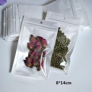 الترويج Clear + white pearl Plastic Poly opp packing zipper Retail Package Food PVC many size available