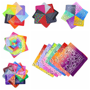 7styles Tie dye Bandana double color flroal square gradient hip-hop headscarf printed colorful cotton dot Bandana 55*55cm FFA4174