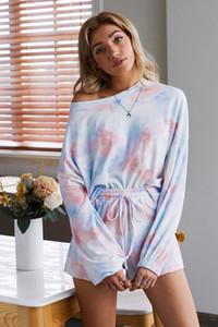 DHL Bedava Pijama tiedye İçin Donna Pijama Korte Met Ronde Hals En Giysi S Batik Eşofman Kadife kırmızı Nice ayarlar garden2010 fPLAG