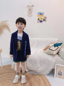 2-10 anos de menina Andd meninos denim retalhos listrado casacos crianças blazers jaquetas marca outerwear crianças roupas