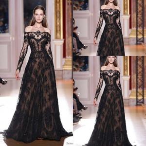 2020 New Off Schulter Abendkleider A-Line Sheer Black Lace Applikationen mit langen Ärmeln Abendkleid Vestido de festa WLF5