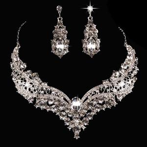 النساء دقيق قلادة + أقراط كريستال حفل زفاف العروس القلائد مجوهرات القرط 401