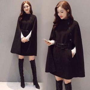 Şık Pelerin Bayan Uzun Coats 2019 Kış Yün Ceket ve Ceket Düğmesi Siyah Kahverengi mont