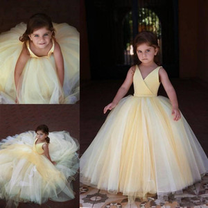Mixed Colors 2020 flower girl dresses For Weddings V Neck A Line Cheap Kids Girls Pageant Dresses Sleeveless Zipper girls pageant dresses