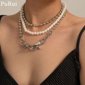 Punk 3Pcs / Set perla Choker collana per le donne Vintage Boho Layered Pearl Perle di metallo del collare della catena Necklace Fashion Jewelry
