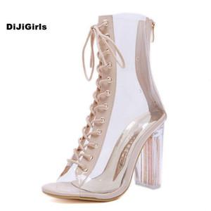 DiJiGirls Moda Yeni Kadın Çizmeler Topuklu Sandalet Kaliteli PVC + PU Malzeme Balık Ağzı Ayakkabı Kristal Ayakkabı Kök Kadın Çizmeler