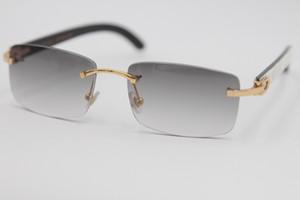 Freies Verschiffen neue Art 8200757 Gläser echte natürliche schwarze und weiße vertikale Streifen Buffalo Horn Randlos 8200758 Sonnenbrille 2019 Unisex