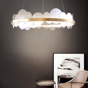 Moderna rotonda Gold Metal acrilico LED Lampadari casa Hotel Living Room Decor Pendant Light Fixture PA0631