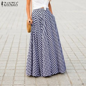 Plus Size 2020 Summer Women Retro Plaid Check Long Skirts ZANZEA Casual Pockets Faldas Pleated Skirt Ladies Bohemian Jupe Femme Y200704