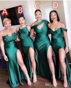 Plus Size verde da sereia da dama de honra Vestidos Sexy alta Dividir mangas vestidos de casamento Fit até o chão festa Vestidos De Fiesta