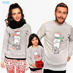 Aile Eşleştirme Giyim Kıyafetler Baba Anne Kız Oğul Kutup Ayısı Giyim Seti Baba Anne Ve Me Baby Kazak Suit Kıyafetler