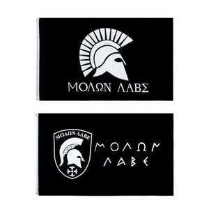 Free Shipping In Stock 3x5ft 90x150cm Polyester Greek Spartan come and take it Molon Labe Flag For Home Decoration