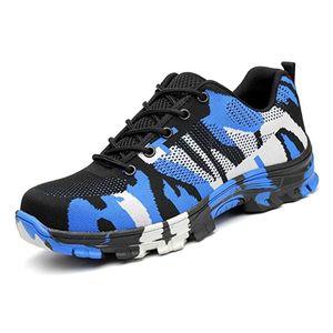 Safety protective shoes Men Blue camouflage breathable anti-mite puncture site neutral shoes non-slip Men