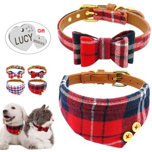 Puppy Dog Cat Collar Bandana Set Soft Cotton PU Leather Plaid Bandanas Bowknot Collars With Engraved ID Tag & Bell For Small Pet